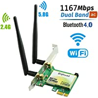 Ziyituod WiFi Card, Wireless AC 1200Mbps with Bluetooth 4.0 Adapter, PCI Express (PCIe) WiFi Network Card Dual Band (2.4GHz 300Mbps or 5GHz 867Mbps) PCI-e Card for Desktop/PC Gaming