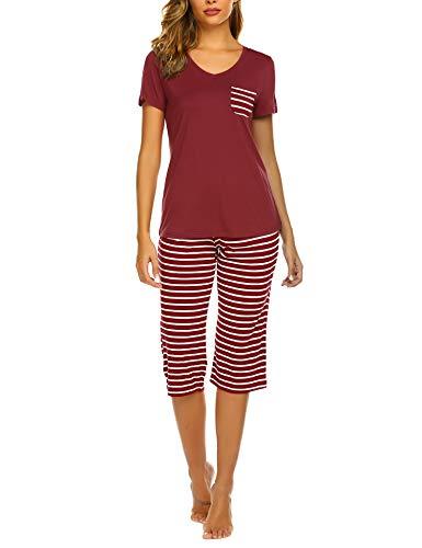 Unibelle Damen Schlafanzug Kurz Sommer Pyjama Kurze Ärmel Pyjamahose Nachtwäsche Hausanzug Kurzarm Sleepwear S-XXL