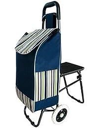 GAYY Carrito de compras L Carrito de equipaje Cargador de gran capacidad plegable,Rayas azules