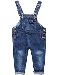 Niños Bebé Pantalones de Peto Vaqueros Overalls Pantalón Largo Ajustable