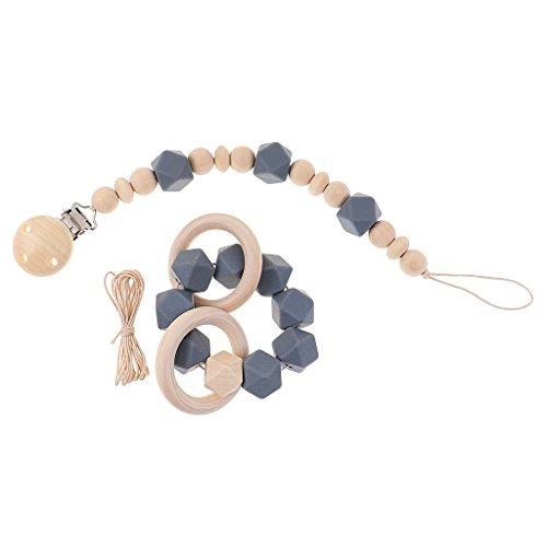 Fenteer Baby Silikon Beißringe Armband Schnullerkette Nuckelketten Schnullerhalter mit Clip Rasseln Spielzeug - Grau, Wie beschrieben