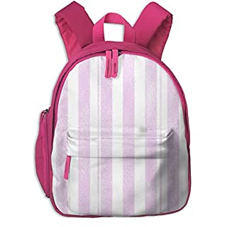 Childrens Backpack for Girls,Stripes Coordinate Unicorn Quilt Nursery Fabric Purple_4351-charlottewinter,for Children's Schools Oxford Cloth (Pink)