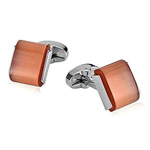Aooaz 1 Paar Männer Herren Manschettenknöpfe Edelstahl Quadratischer orange Opal Orange Hochzeit Hemd Manschettenknopf 1.7×1.5cm