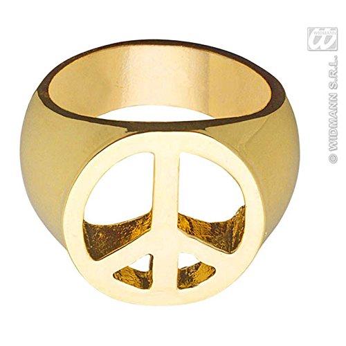Goldener Peace Ring 70er Jahre Schmuck Hippie ()