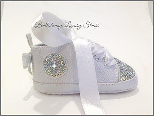 4d6e67758e Caratteristiche ed informazioni su scarpe scarpine 3-6 mesi bianche strass  aurora boreale bimba neonato battesimo sneakers / total white baby shoes  birthday ...