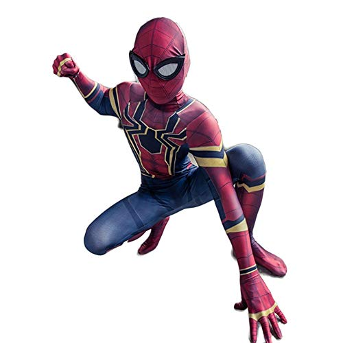 SPIDERZBXIONG Kinderstrumpfhose One Piece Kostüme Requisiten Spider-Man Cosply Iron Movie Party Requisiten (Color : Red, Size : XL) (Spiderman Kostüm Vergleich)