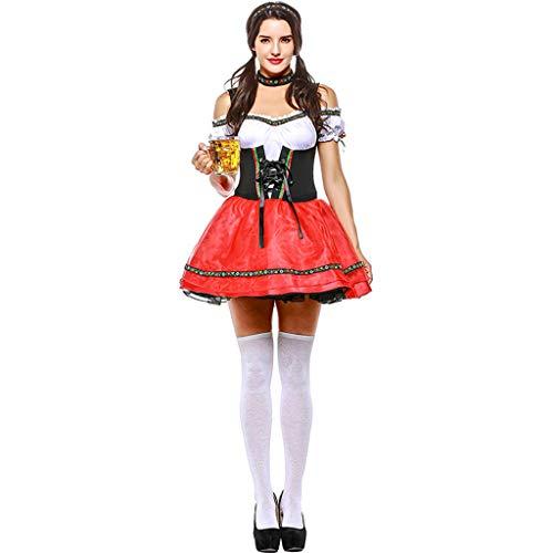 CJJC Beer Girl Oktoberfest Kostüm, Festival Party Maid Kurzes Kleid, Sexy High School Girl Performance Uniform (Vampire School Girl Kostüm)