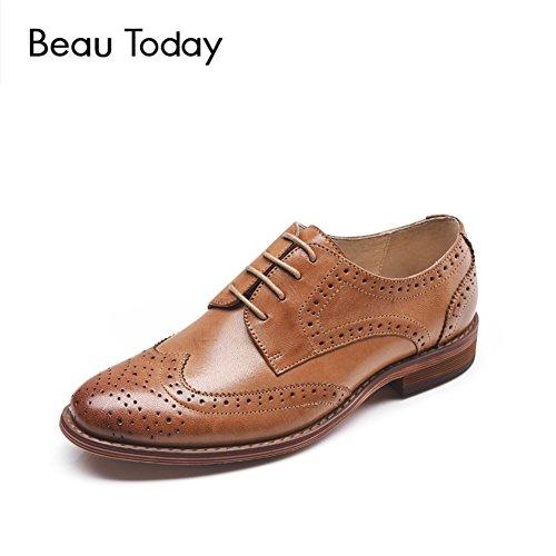 OOFAN Damen Leder Oxfords Perforierte Lace-Up Wingtip Low Heel Carving Brogue Kleid Schuhe Braun,Brown,38 Damen Wingtip