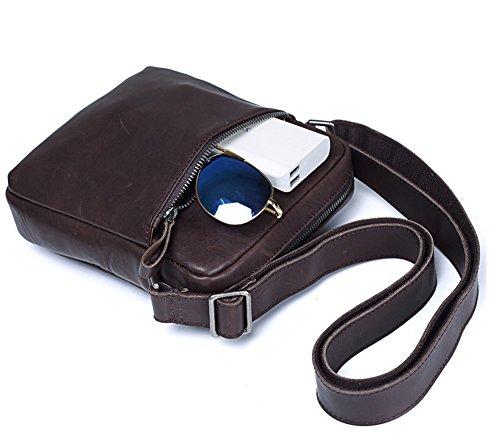 Everdoss Herren Umhängetasche echt Leder Schultertasche Cross Body Messenger Bag Vintage Business Freizeit Dunkel Braun