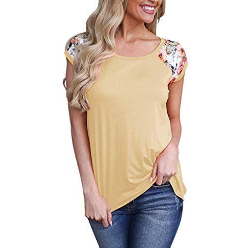 Sommer Blumendruck Block Kurzarm Damen T Shirts Rundhals Casual Einfarbig Blusen Basic Bequem Tops(Gelb,L) (Wenn Schwanger Halloween-kostüm Ideen,)