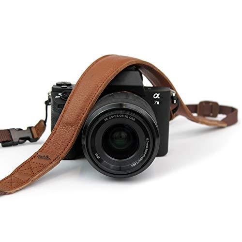 Pack & Smooch Kameragurt Mit Schnellverschluß Schultergurt aus rein pflanzlich gegerbtem Ecopell Nappa Luxus-Leder Für Canon, Nikon, Pentax, Leica und Sony (Hellbraun) - Handgefertigt in Hamburg