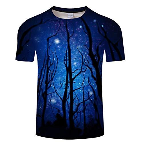 FEIMEI Herren Plus Größe T-Shirt 3D Print Rundhals Kurzarm gedruckt Reflexion Baum T-Shirt Tops,04,XXL -