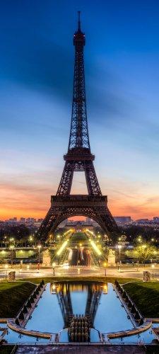 Türtapete Eiffelturm bei Nacht TT171 90x200cm Tapete Paris Tour Eiffel Skyline