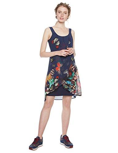 Desigual Damen Kleid Vest_Butterfly, Blau (Azafata 5027), 40