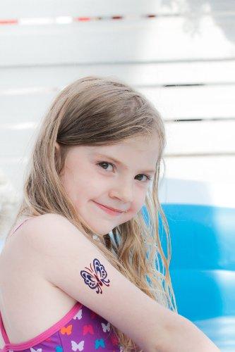 Original Glitzertattooset: Temporäre Tattoos für Kinder und Teenager mit 6 großen Glitzertuben & Tattoovorlagen