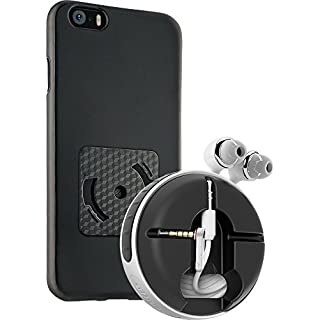 athos-c Gadget Smartwind® Duo CrossCover for iPhone 5/5S and SE - comprising The Bumper in Black with a Cable Winder for Earphones with Straight and Angled Plug in White-Black