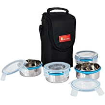 Amazon Brand - Solimo Stainless Steel Lunch Box Set with Bag, 300ml, 11cm Diameter, 4-Pieces, Clear Lid