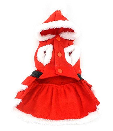 Imagen de smalllee _ lucky _ store pequeño perro ropa para niñas niños gato perro navidad disfraz con capucha de piel sintética. vestido cinturón decorado invierno rojo alternativa