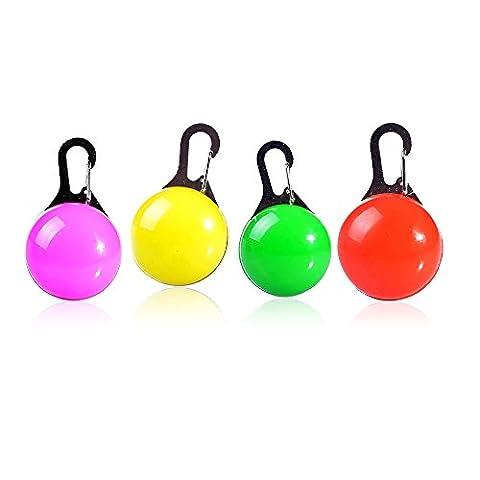 Pendentif LED pour collier pour chien 3Mode Couleurs assorties clip sur Collier pour chien LED résistant à l'eau et des piles included-4packs