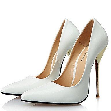 Moda donna sexy sandali Scarpe Donna 14cm Altezza tacco Sexy punta appuntita Stiletto di metallo pompe tacco Scarpe da parte di più colori disponibili White