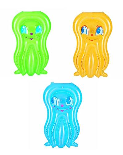 "3x Kinder-Luftmatratze ""Octopus"" / ca. 109X74cm / Farbe: je 1x grün, gelb + blau"