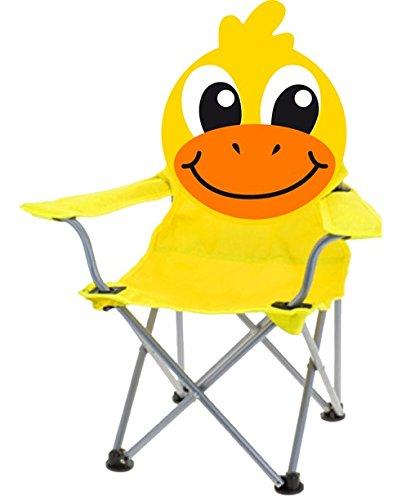 hibuy Kinder Klappstuhl mit Lustigem Tiermotiv. Faltstuhl Strandstuhl mit Motiv: Gelbe Ente