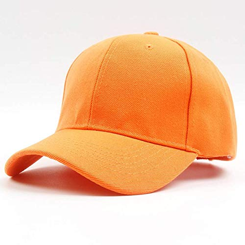 BQMLZY Baseballmütze Männer Frauen 6 Panel Plain Baseball Cap Einstellbare Feste Twill Hüte, Orange -