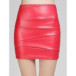 GDS sagetech @ alta cintura de las mujeres equipado faldas de cuero corta (más colores) , s