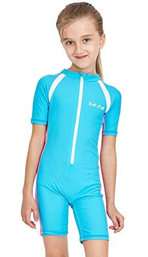 HaoLian Kinder Badeanzug Mädchen Schwimmanzug Einteiler Tauchanzug UV-Schutz kurzarm Wetsuit für Wassersport-3-11 Jahre Alt