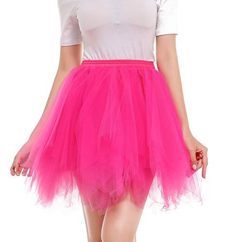 ck Tüll Petticoat Ballett Tanz Organza Geschichteten Blase Kostüm Dress-up Sexy Größe 36-52(48-52,Fuchsie) ()