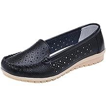 Zapatillas de Cuero para Mujer Otoño 2018 Zapatos de Plano de Dama PAOLIAN Senderismo Casual Náuticos