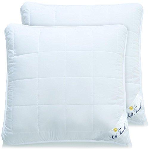 aqua-textil 2er Set Kopfkissen 80x80 allergikergeeignete Flauschige Kissen mit Reißverschluss Zum...