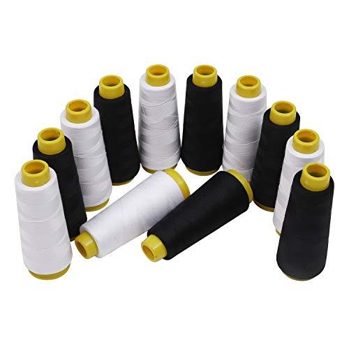 Kurtzy Polyester faden/Nähgarn -Weißer und schwarzer Faden 12 Stück - 11000 Meter overlockgarn - ideal zum Nähen, Quilten oder Besticken von Maschinen