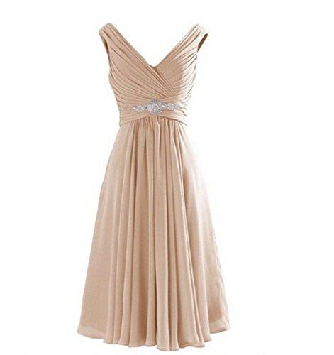 Milano Bride Einfach V-ausschnitt Chiffon A-linie Abendkleider Partykleider Abiballkleider...