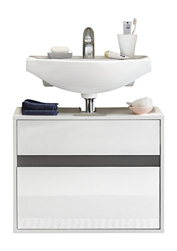 trendteam smart living Muebles, Madera, Korpus, Front Weiß Hochglanz, 67 x 52 x 36 cm