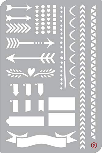 Schablone Vorlage Bullet Journal Pfeile und Borten 18x12cm zeichnen malen Diary Scrapbooking (18 Pfeile)