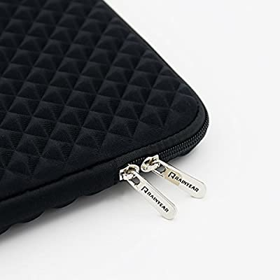 RAINYEAR Inch Laptop Sleeve Diamond Foam Shock Resistant Neoprene Padded Case Fluffy Lining Zipper Cover Bag Compatible with Notebook Computer Ultrabook Chromebook Black