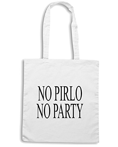 T-Shirtshock - Borsa Shopping T0833 no pirlo no party calcio ultras Bianco
