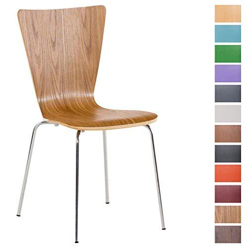Eiche Stapelbar (CLP Stapelstuhl Aaron ergonomisch geformter Konferenzstuhl mit Holzsitz und stabilem Metallgestell | Platzsparender Stuhl mit pflegeleichter Sitzfläche Eiche)