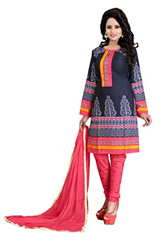 Queen of India Women's Crepe Silk Dress Material (QOI_DM_QAAW2_Free Size_Red)