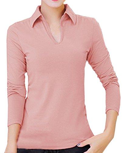 Der Neuen Frauen Dünnes War Dünnes Revers V-Kragenhemdbaumwoll Einfarbig Langhülse T Shirt Rosa