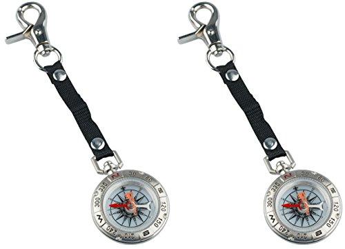 AceCamp 2 x Captain Kompass im Vintage, Nautical Design aus Metall, Schlüsselanhänger, Antiker Compass zur Navigation, Orientierung auf Dem Boot, Doppelpack 3132
