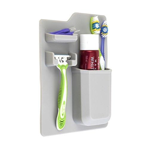 Zahnbürstenhalter, Zahnbürsten-Organizer, Zahnbürstenhalter Silikon- für die Wandmontage und Halterung für den Rasierer. Rutschfeste, leicht zu reinigende Toilettenartikel Caddy - Zahnbürste Caddy