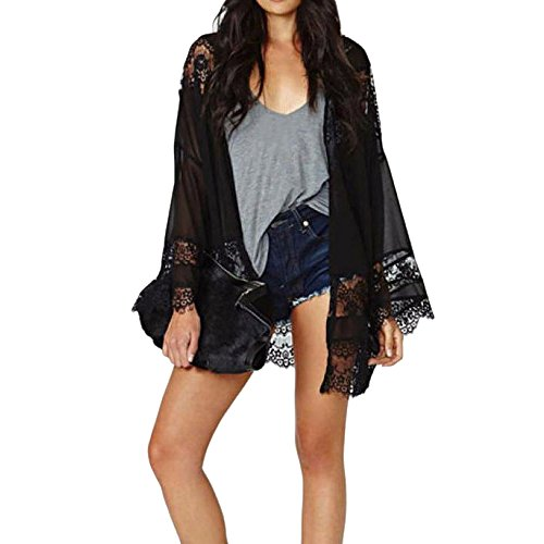 Zolimx Frauen Spitze Splicing Hohle Chiffon Kimono Cardigan Bluse Tops (L) (Rock Schwarz Gebändert)