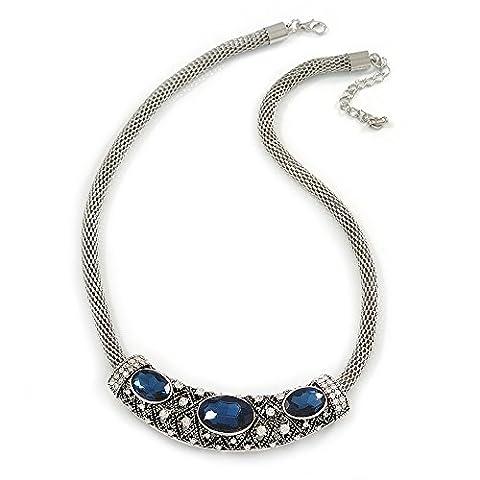 Vintage inspiriert Mesh Kette mit Midnight Blau/Transparent Kristall Schiebetür Bar Anhänger Halskette in Silber Ton–44cm L/4cm (Ext Bar)