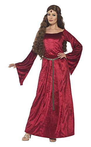 Fraulein Kostüm - Smiffys 44682L - Damen Mittelalterliches Fräulein Kostüm, Größe: 44-46, rot