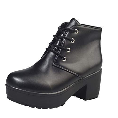 VJGOAL Damen Stiefel, 6CM Damen Mode Schnüren Sie Sich Knöchel-Flache Oxford-Leder-Keil-Hohe Absatz-Schuhe beiläufige Kurze -Stiefel (Schwarz, 40 EU) - Aerosoles Leder Braun