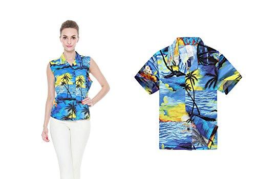 bb2fb323b Camisa hawaiana a juego del muchacho de la camisa de las mujeres de Luau  del hijo de la madre Puesta del sol azul S-16
