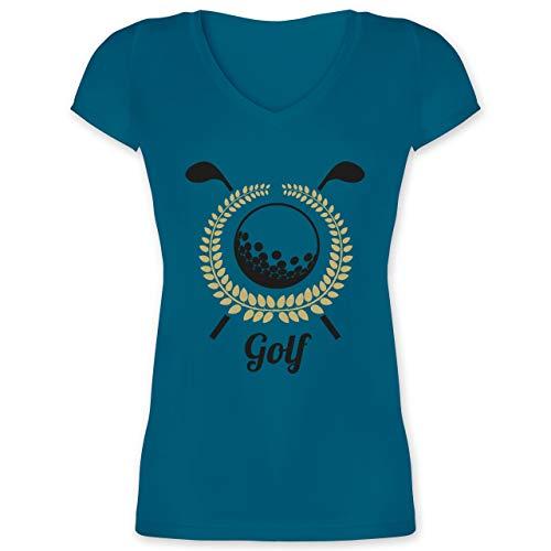 Golf - Lorbeerkanz Golfschläger Golfball - M - Türkis - XO1525 - Damen T-Shirt mit V-Ausschnitt
