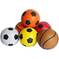 Pelotas Niños Juego Pelota Blanda Espuma Pelota Antiestres, 6 Piezas Baloncesto y Fútbol